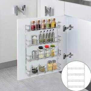 4 Tier Wall Mounted Metal Spice Rack Jar Holder Herbs Storage Kitchen Cupboard