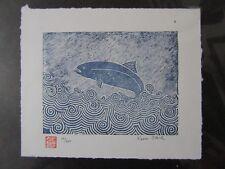 Trout Salmon Fish Woodblock Print Moku Hanga Japanese Washi paper signed
