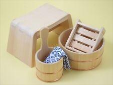 Hinoki Bathroom Item 4 Set Chair Soap Stand Bathtub Hand tub Cypress Japan New