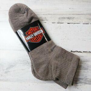 3 Pair Harley Davidson Merino Wool Quarter Socks Men's Large Brown