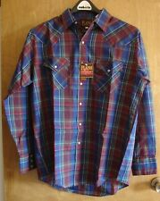 MENS PLAINS WESTERN WEAR SHIRT BLUE GREEN RED YELLOW PLAID PEARL SNAPS LARGE NEW