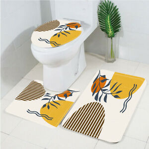 Modern Art Red Sun and Branches Toilet Cover Rug Mat Contour Rug Set 3pcs