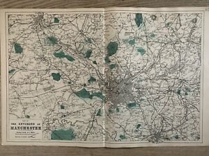 1884 Environs of Manchester Antique Hand Coloured Map by Edward Weller