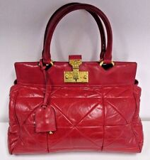 MARC JACOBS Deep Red Satchel w/ Large Quilting & Baroque Push Lock Closure