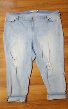 Torrid Light Wash Distressed Boyfriend Jeans Plus Size 26R Cropped Cuffable EUC