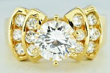 Women's Simulated Diamond Wedding Ring Set in Solid 14k Real Gold