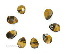 8 Tiger Eye Faceted Flat Briolette Beads 13x18 #81013