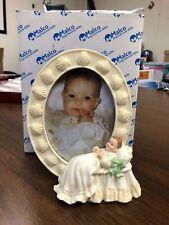 Baby in Bassinet Figurine Frame For Baptism Celebration, 6 1/4 Inch N.G.