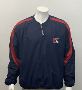 Majestic Minor League Baseball Embroidered Logo Blue Red Pullover Jacket Medium
