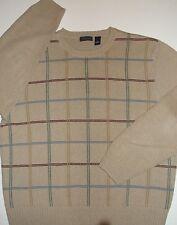 Saddlebred Knit Sweater ~TAN~Grid Pattern~Men's XL~100% Cotton-EUC~FREE Shipping