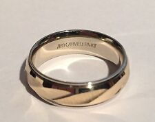 Women's Artcarved Wedding Ring 14K Solid Two-Tone Gold Fluted Grooves Size 5.75