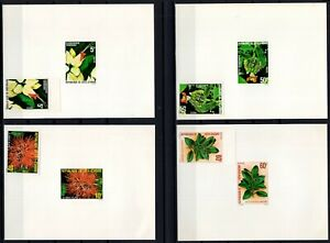 AE138774/ IVORY COAST - FLOWERS / Y&T # 523/525 - 528 MNG PROOFS & IMPERF
