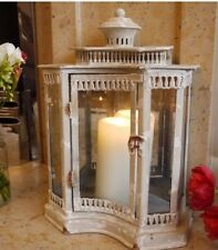 New Large Antique Country Vintage Style Large Glass Lantern Candle Holder Cream