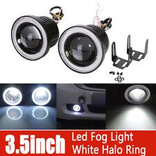 "Pair 3.5"" COB LED Fog Light Projector Car White Angel Eyes Halo Ring DRL Lamp"