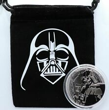 2019 Darth Vader 1 Oz 999 Silver Coin Star Wars Niue $2 with Pouch - JJ869