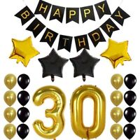 30Th Birtay Party Decor Gifts for Men & Women Happy Birtay Black Banner Bal P9W7