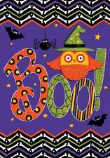 "Fall Autumn Halloween Large Garden Flag ""Owl Boo!"""
