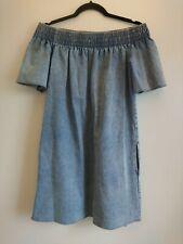 Bimba Y Lola Blue Denim Dress Size Medium M UK 10 12 Off Shoulder Bardot Summer