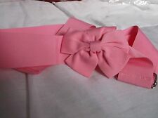 BRAND NEW>BABY>PINK>BOW>BELT>WITH>SILVER>FASTNER>39inch