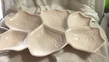"""WONDERFUL VINTAGE JEANNETTE SHELL PINK MILK GLASS 16 1/2"""" 6-SECTION RELISH TRAY"""
