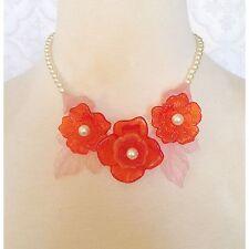 Vintage MOLDED Plastic Bakelite? FLOWER Necklace Boho Mod