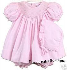 NWT Petit Ami Pink Gingham Smocked Bishop 3pc Dress Newborn Bonnet & Bloomers