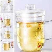 Borosilicate Glass Tea Pot Set Tea Infuser Coffee Leaf Herbal Cup Warmer By Hand