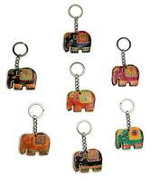 Schlüsselanhänger Elefant Leder Thailand Asien bunt