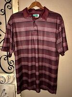 Ben Hogan Performance Polo Shirt L Brown Black Striped Lknw