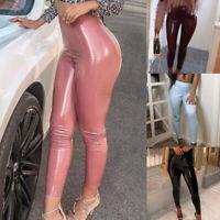 Ladies High Waist Skinny Leggings Trousers Pencil Wet Look Slim Leather PU Pants