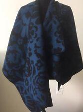 NWT Burberry Marine Blue Floral Wool Cashmere Poncho Cape Wrap Shawl $1595