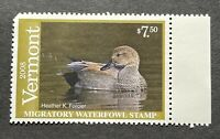 WTDstamps - 2008 VERMONT - State Duck Stamp - Mint OG NH