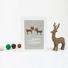 To my Brother and His Partner, Christmas Greetings Card, Reindeer, LGBT Card