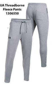 Mens Under Armour Pants Medium Gray Threadborne Fleece Pants Fitted Joggers New