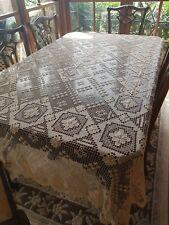 Antique Italian Sardian Ecru Mondano Knotted Lacis Filet Lace Tablecloth 260 cm