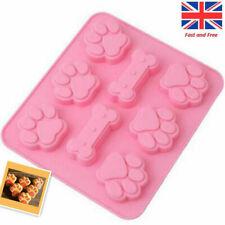 Silicone Cat Paw Dog Bone Chocolate Moulds Food-Grade Cake Jelly Baking Mould UK