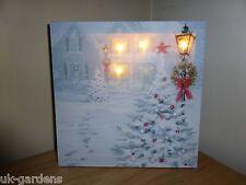30x30cm ALBERO DI NATALE QUADRO TELA-Neve Decorazione murale con luci LED