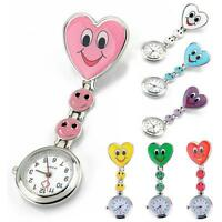 Stainless Steel Doctor Brooch Fob Clip-on Quartz Smile Heart Pocket Nurse Watch