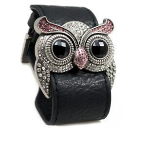 Silver Color Amethyst Crystal Owl Leather Cuff Bracelet