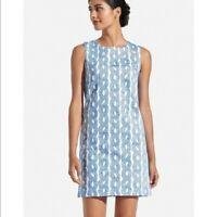 Persifor Margot Dress Womens Size Medium White Blue Rope in Coast Sleeveless
