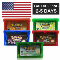 Pokemon EMERALD RUBY FIRERED LEAFGREEN SAPPHIRE GBA Gameboy Advance game card