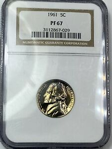 1961 Proof Jefferson Nickel NGC PF67