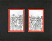 BATMAN & GREEN HORNET MIRRORED SKETCH PRINT PROFESSIONALLY MATTED Alex Ross