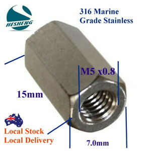 Qty 1 Hex Rod Coupling Nut M5 (5mm) 316 Marine Stainless Steel Coupler Connector
