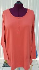 WOMAN WITHIN Pullover Long Sleeve 100% Cotton Top, Orange, Size 3X, NWOT