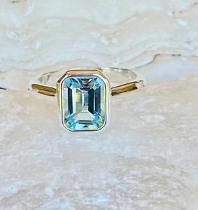 3.0CT Emerald Aquamarine Bezel Set Solitaire Wedding Ring 14K White Gold Finish