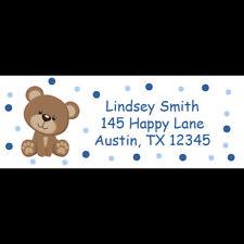 30 Return Address Labels for Baby Shower -  Teddy Bear - Blue Polka Dot