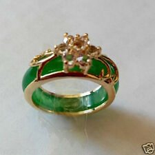 Beautiful Gold plated Green jade ring