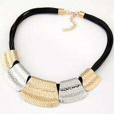 Geometric Gold Silver hammered collar choker statement pendant necklace