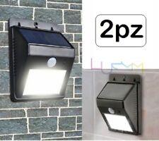 2x Faro Lampada Solare Da Esterno Giardino Faretto Fotovoltaico Sensore 4 LED
